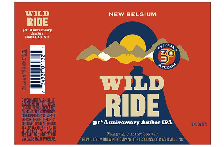 New Belgium 30th Anniversary Wild Ride beer Label Full Size