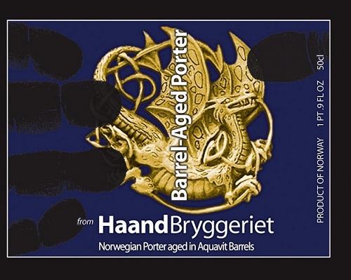 Haandbryggeriet Aquavit Barrel Aged Porter beer Label Full Size