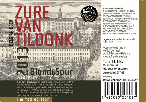 Hof ten Dormaal Zure van Tildonk Blond & Sour beer Label Full Size