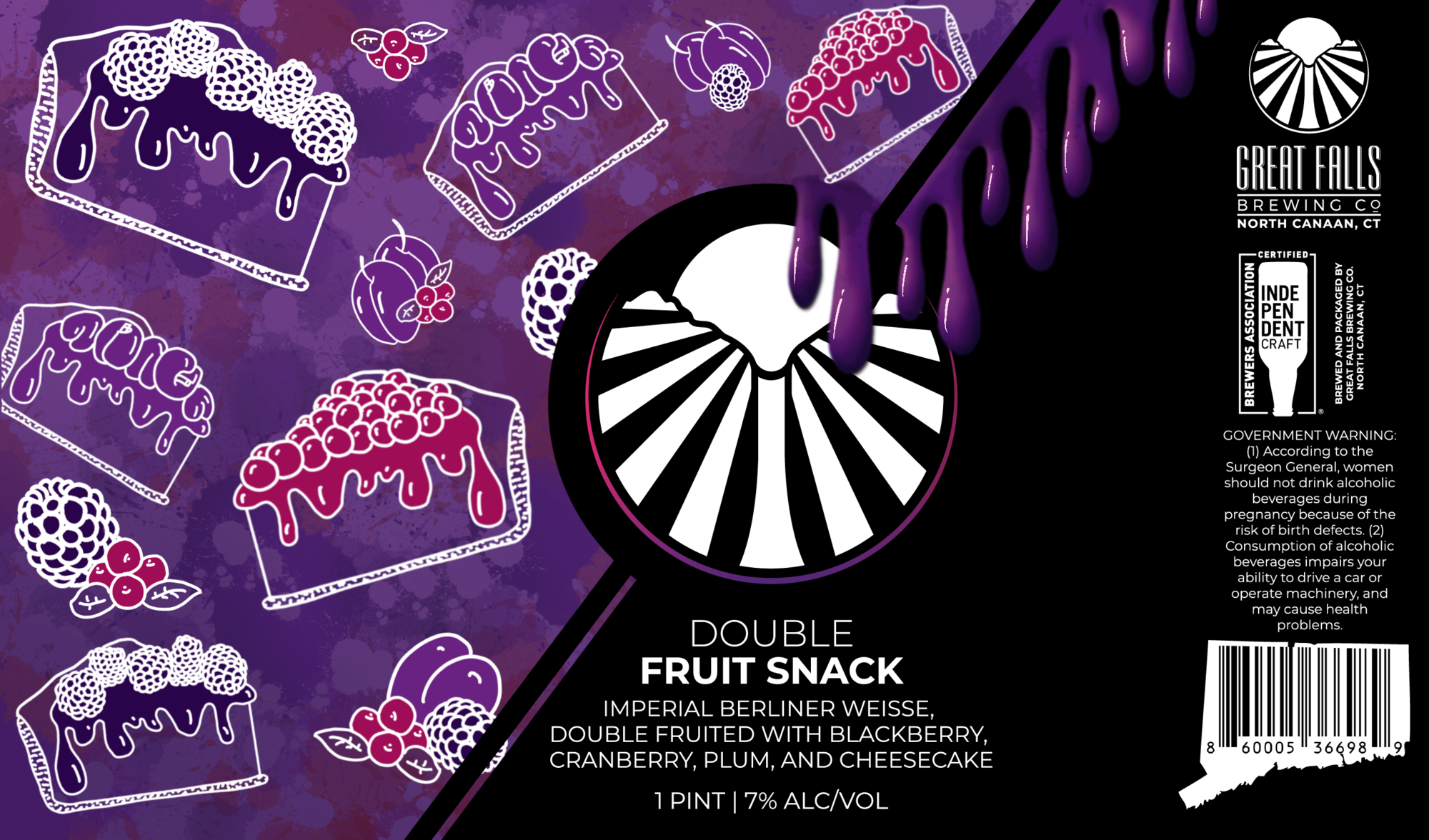 Great Falls Double Fruit Snack- Blackberry, Cranberry, Plum Cheesecake beer Label Full Size