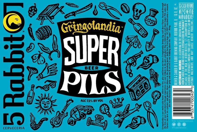 5 Rabbit Gringolandia Super Pils beer Label Full Size