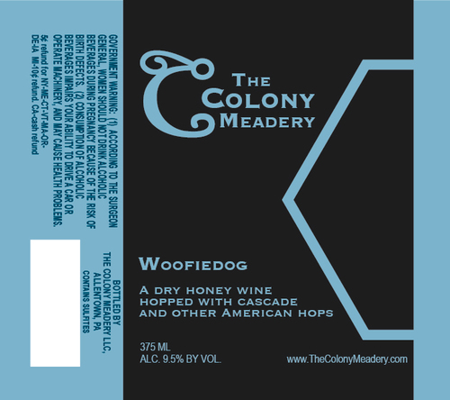 Colony Woofiedog beer Label Full Size