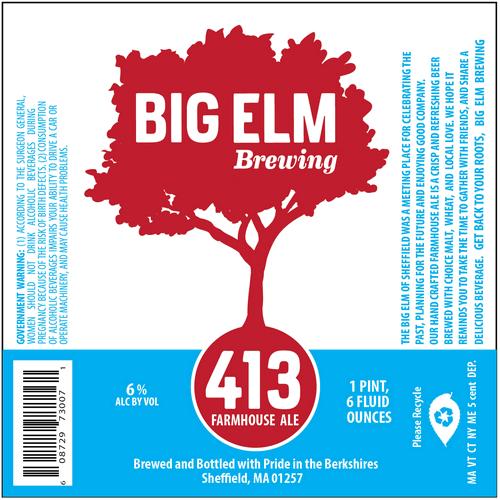 Big Elm 413 Farmhouse Ale beer Label Full Size