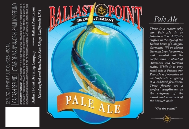 Ballast Point Yellowtail Pale Ale beer Label Full Size