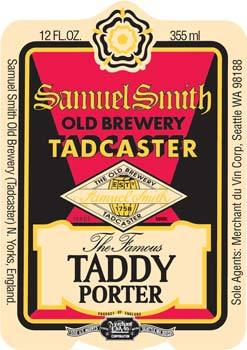Samuel Smith's Taddy Porter beer Label Full Size