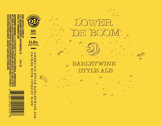 21st Amendment Lower De Boom beer Label Full Size