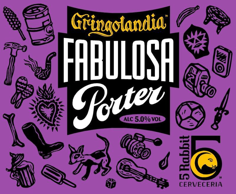 5 Rabbit Gringolandia Fabulosa Porter beer Label Full Size