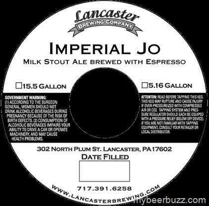 Lancaster Imperial JO beer Label Full Size