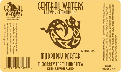 Central Waters Mud Puppy Porter beer Label Full Size