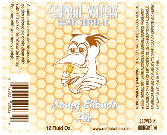 Central Waters Honey Blonde Ale beer Label Full Size