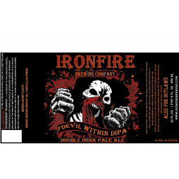 Ironfire The Devil Within Double IPA beer Label Full Size