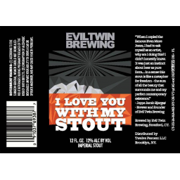 Evil Twin I Love You With My Stout beer Label Full Size