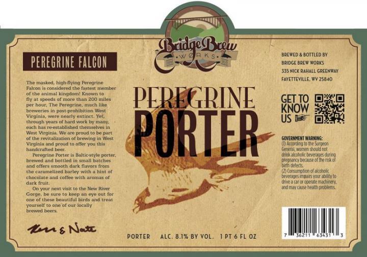 Bridge Brew Works Peregrine Porter beer Label Full Size