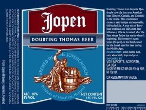 Jopen Doubting Thomas beer Label Full Size