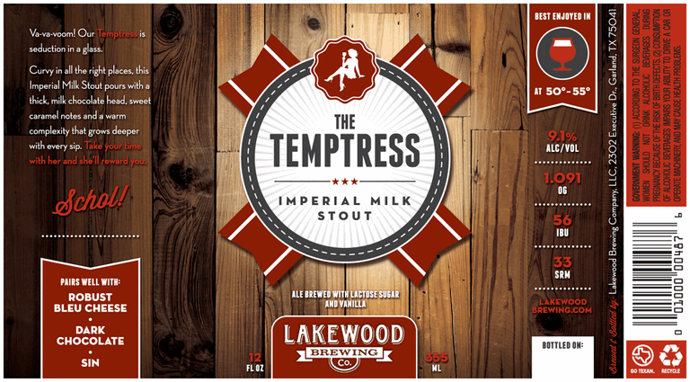 Lakewood The Temptress beer Label Full Size