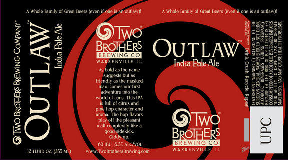 Two Brothers Outlaw beer Label Full Size