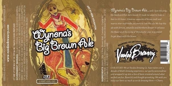 Voodoo Wynona's Big Brown Ale beer Label Full Size