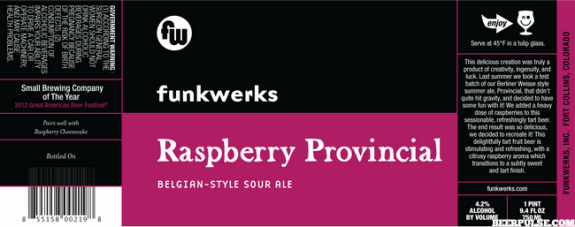 Funkwerks Raspberry Provincial beer Label Full Size