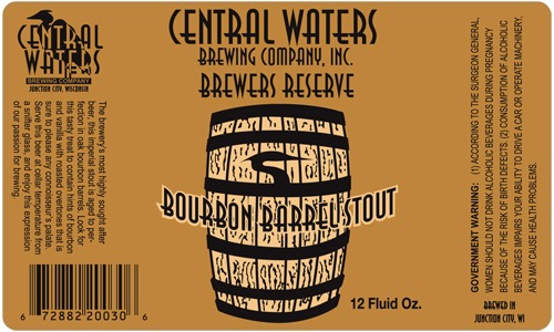 Central Waters Bourbon Barrel Stout beer Label Full Size