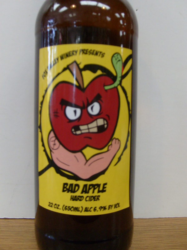 Fox Valley Winery Bad Apple Hard Cider beer Label Full Size