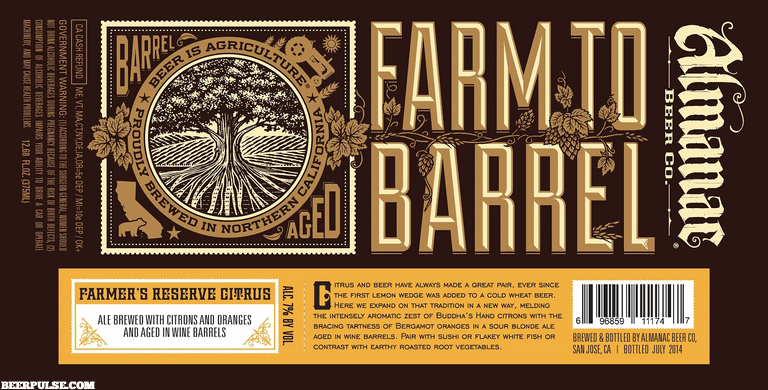 Almanac Farmer's Reserve Citrus beer Label Full Size