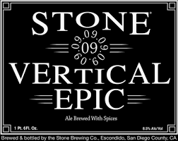 Stone Vertical Epic 090909 beer Label Full Size