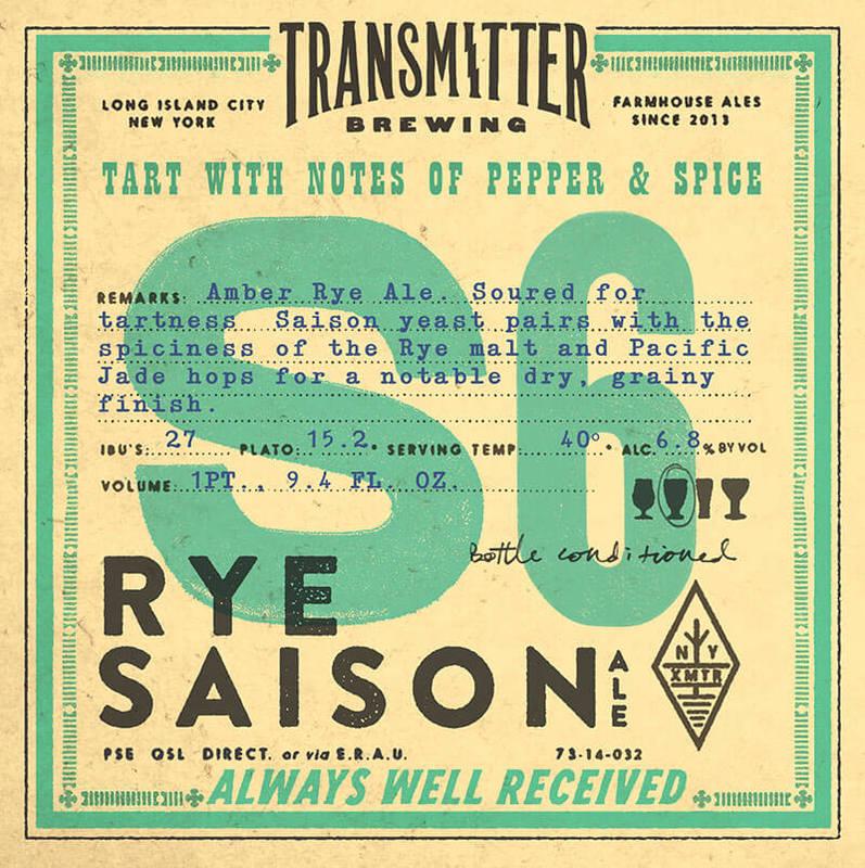 Transmitter S6 Sour Rye Saison beer Label Full Size