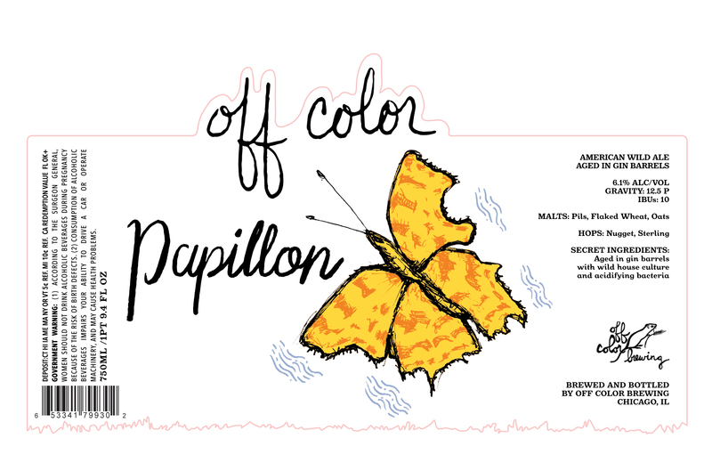 Off Color Papillon 2019 beer Label Full Size