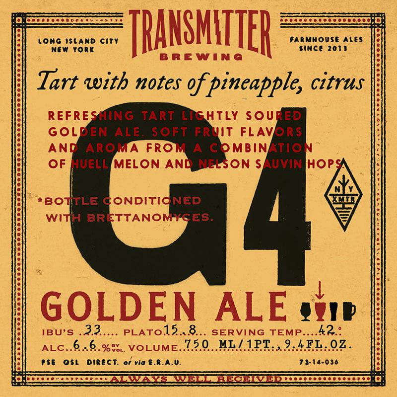 Transmitter G4 Tart Golden Ale beer Label Full Size