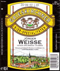 Grieskirchner Weisse beer Label Full Size