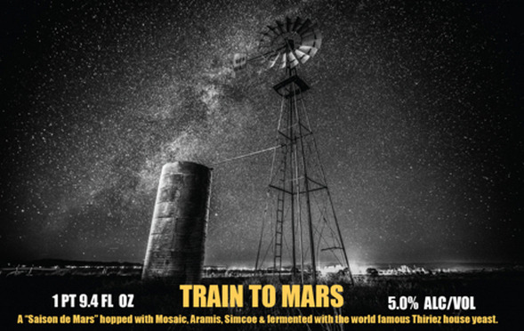 Thiriez/Get Radical Train to Mars beer Label Full Size