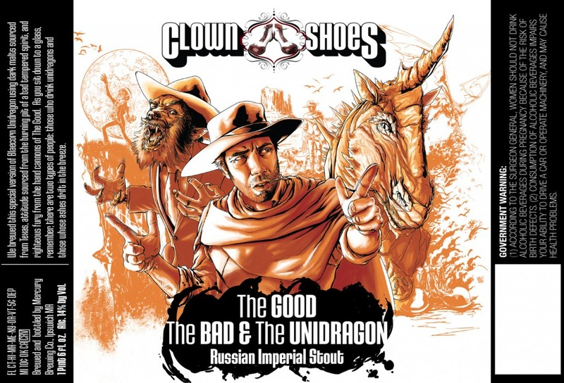 Clown Shoes Beer The Good, The Bad & The Unidragon beer Label Full Size