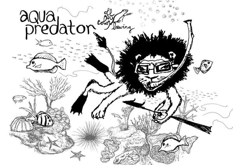 photo of off color aqua predator beer label - Off Color Cartoons