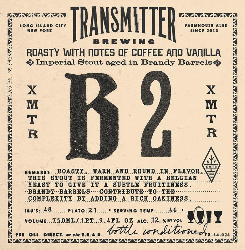 Transmitter B2 Imperial Stout Brandy Barrel beer Label Full Size
