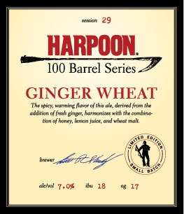 Harpoon 100 Barrel Series Ginger Wheat beer Label Full Size