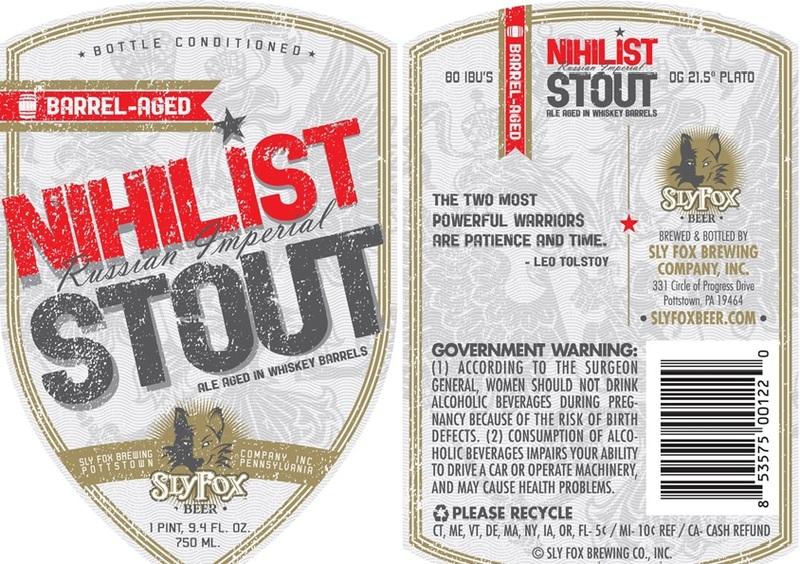 Sly Fox Nihilist Stout Bourbon Berrel Aged beer Label Full Size