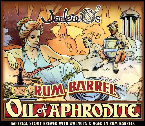 Jackie O's Rum Barrel Oil of Aphrodite beer Label Full Size