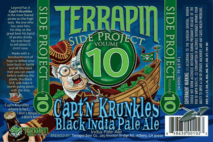 Terrapin Capt'n Krunkles Black IPA beer Label Full Size