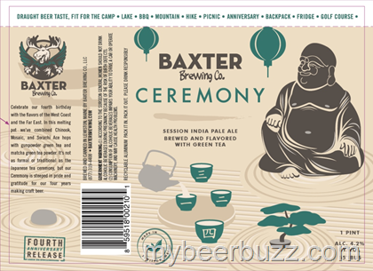 Baxter Ceremony 4th Anniversary IPA beer Label Full Size