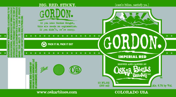 Oskar Blues Gordon beer Label Full Size