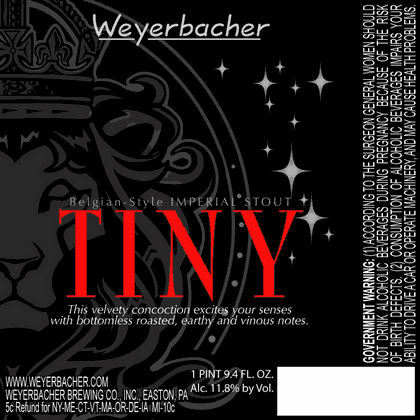 Weyerbacher Tiny beer Label Full Size