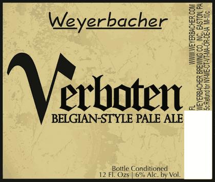 Weyerbacher Verboten beer Label Full Size