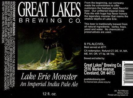 Great Lakes Lake Erie Monster beer Label Full Size