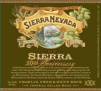 Sierra Nevada 30th Anniversary Bock beer Label Full Size