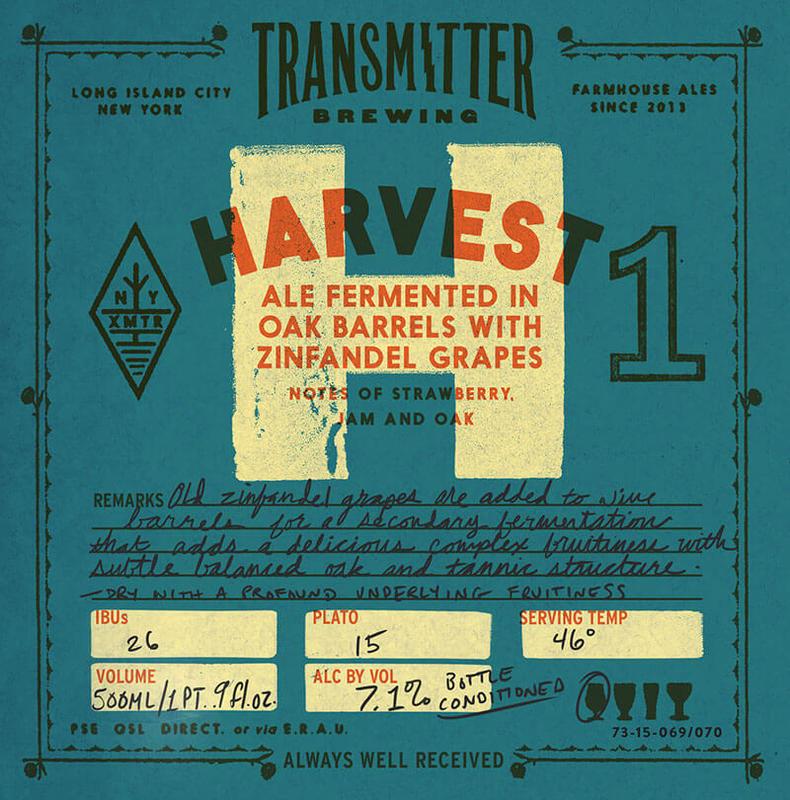 Transmitter H1 Oak Aged Zin Saison beer Label Full Size