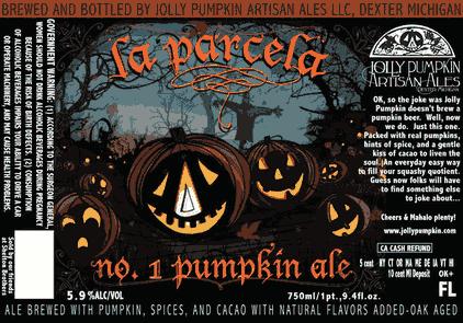 Jolly Pumpkin La Parcela beer Label Full Size