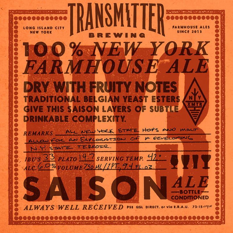 Transmitter NY3 New York Saison beer Label Full Size