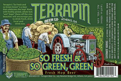 Terrapin So Fresh & So Green, Green beer Label Full Size