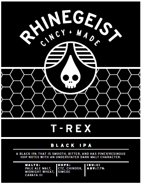 Rhinegeist T-Rex Black IPA beer Label Full Size