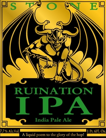 Stone Ruination IPA beer Label Full Size
